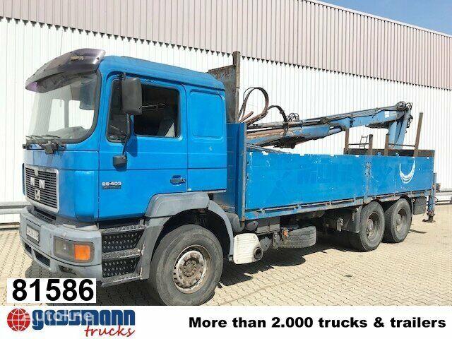 MAN 26.403 DFLC 6x4 BL, Heckkran Atlas AK 160.1,  flatbed truck