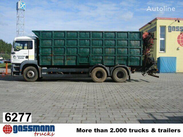 MAN TGA 26.413 mit Kran Jonsered 1020 Tempomat flatbed truck