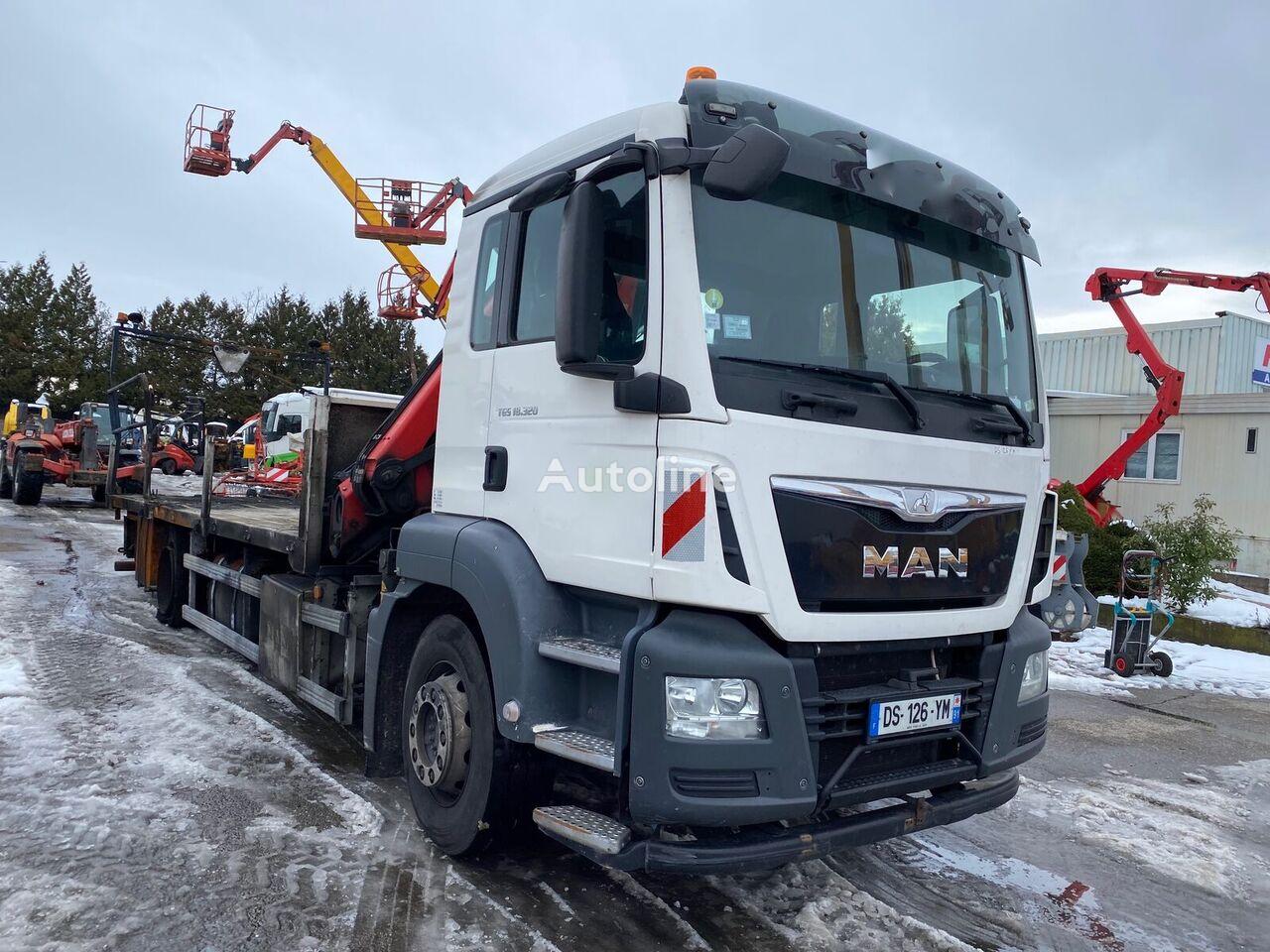 damaged MAN TGS18.320 flatbed truck