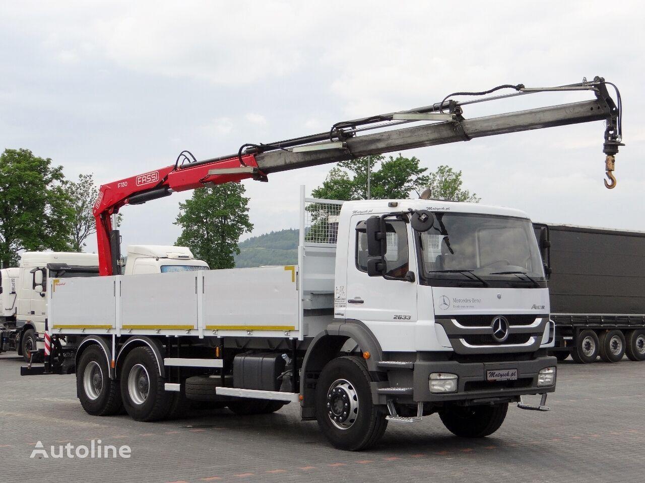 MERCEDES-BENZ AXOR 2633 / 6X4 / MACARA FASSI F150 /RADIO CONTROL / ROTATOR / flatbed truck