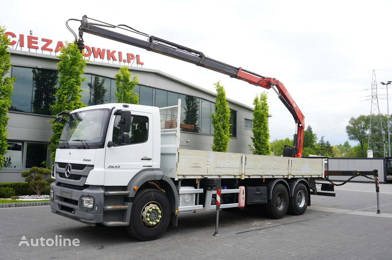 MERCEDES-BENZ Axor 2633 , EEV , 6X4 , BOX 7,5m , FASSI 10m / 6.000kg , REMOTE  flatbed truck