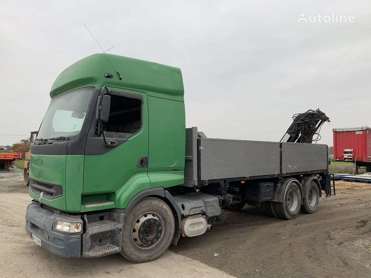RENAULT PREMIUM 400 6X2 CRANE MEILLER MK 116 RS  flatbed truck