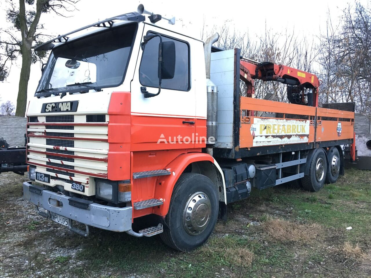 SCANIA 113M RM6x2 380 flatbed truck