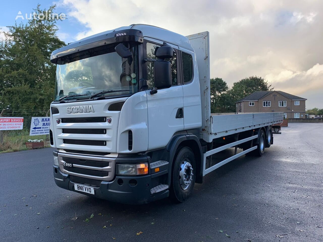 SCANIA P380 flatbed truck