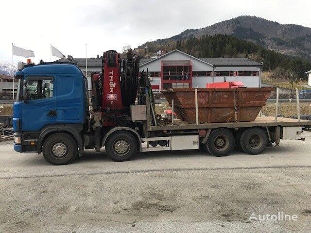 SCANIA R164 GB ,big axle, HMF THOR K6 with Jib and remote flatbed truck