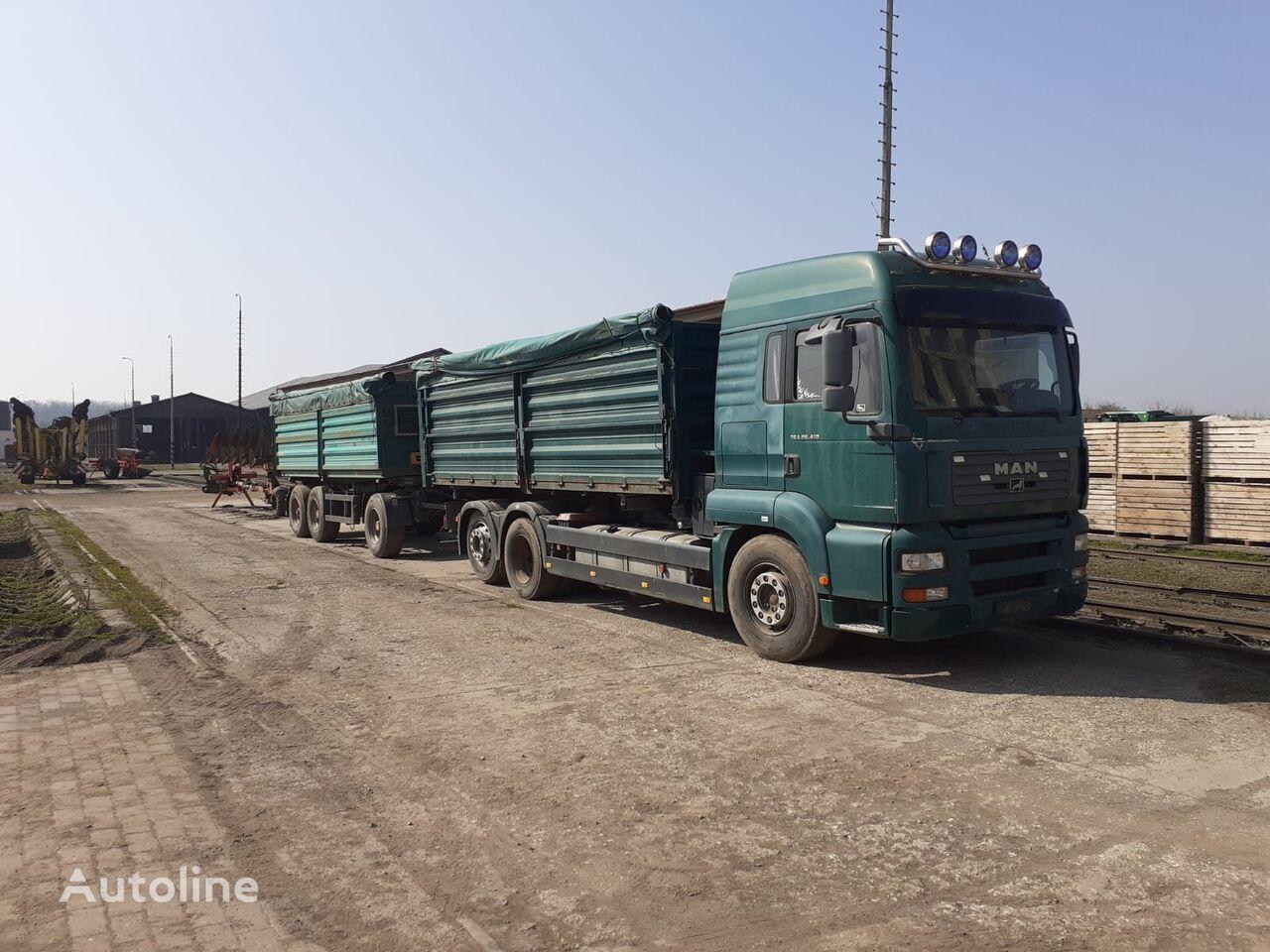 MAN TGA 410 6x2 S3 třísklápěč grain truck + grain trailer