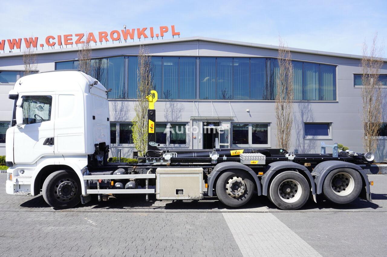 SCANIA R490 , E6 , 8X2-4 , tridem , NEW HOOK 22T HYVA , chassis 9m , re hook lift truck