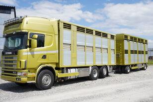 SCANIA R164 V8, 6x2, 2 hydraulic decks, 70m2 , live stock  horse truck + livestock trailer