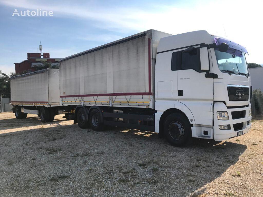MAN TGX 26.480 CENTINATO CON RIMORCHIO Rif.T21-033 tilt truck + tilt trailer