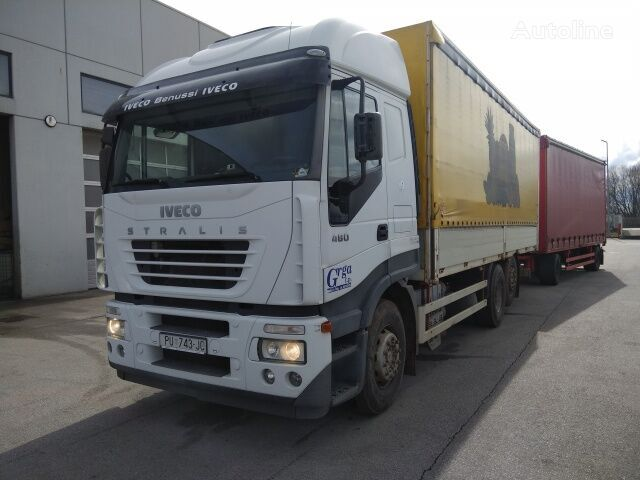 IVECO AS260S48 Y/PS tilt truck + curtain side trailer