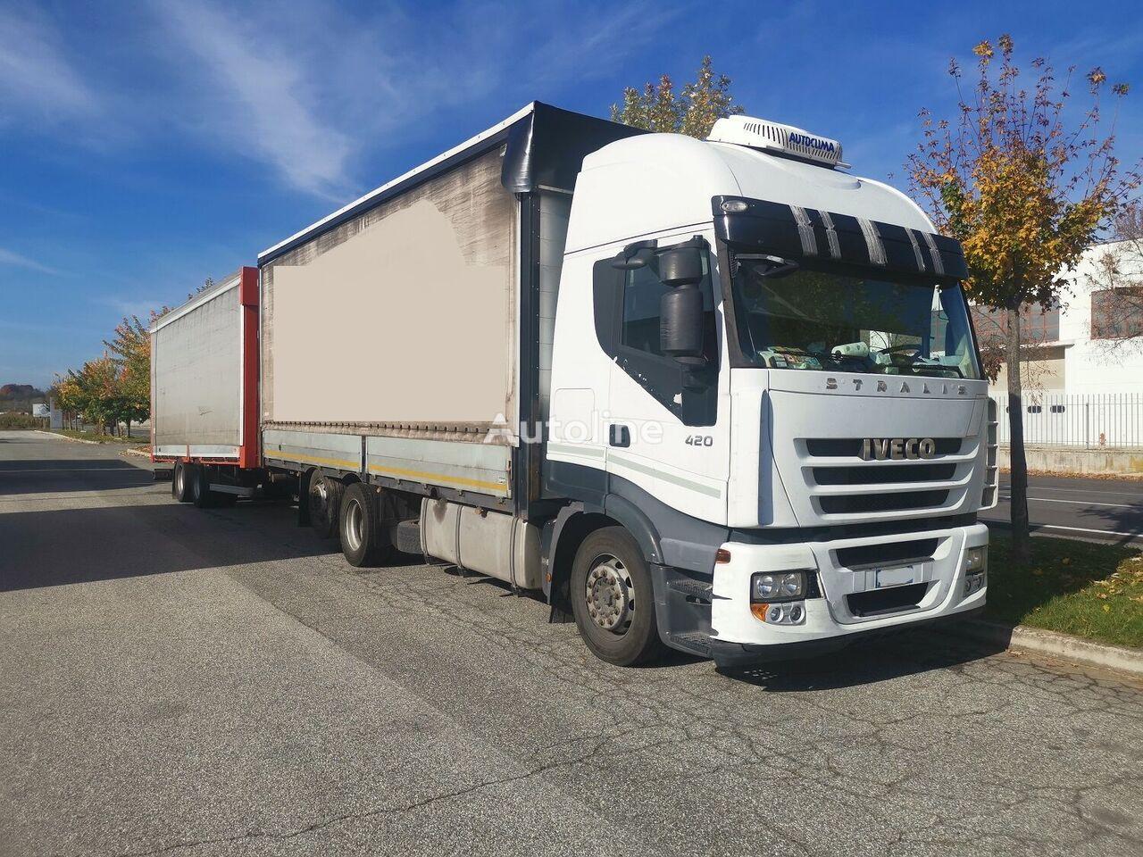 IVECO Stralis 420  tilt truck + tilt trailer