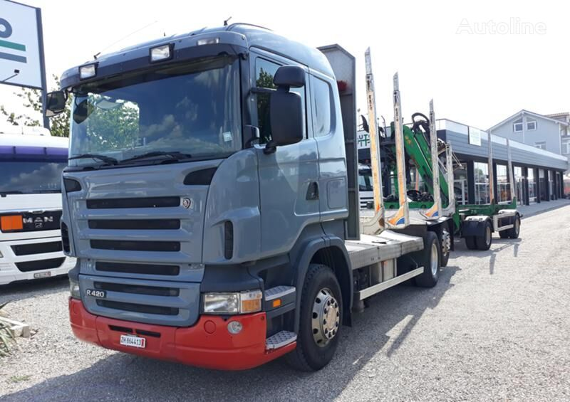 SCANIA R 420 timber truck + timber trailer