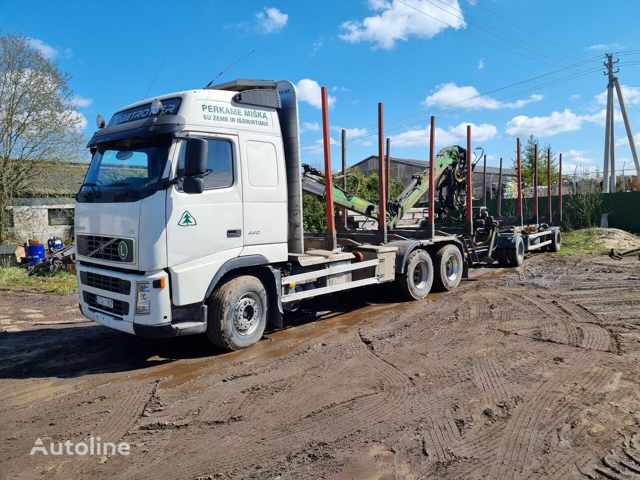 VOLVO FH12 440 timber truck + timber trailer