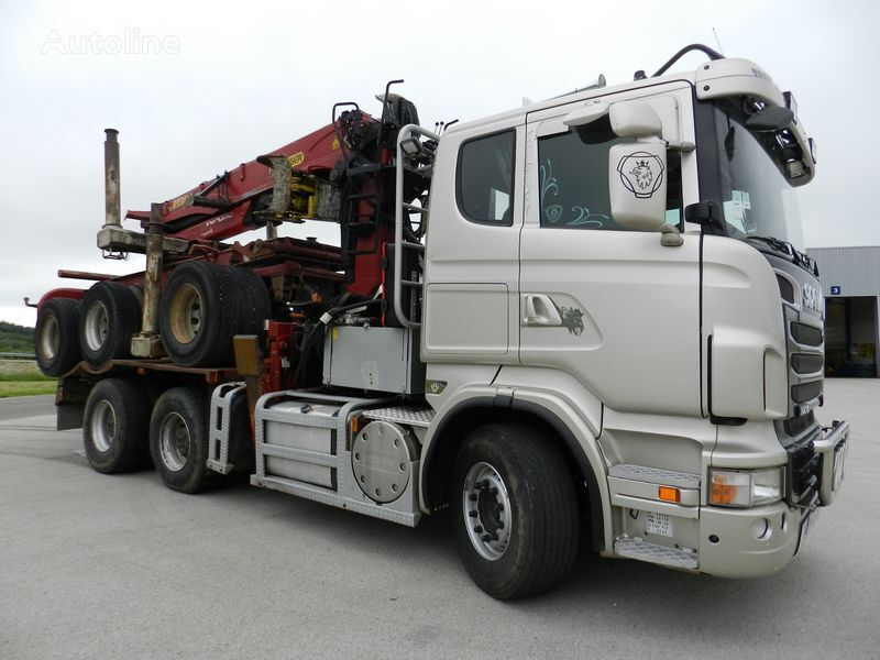 SCANIA R730 with trailer 3 axles timber truck + timber trailer